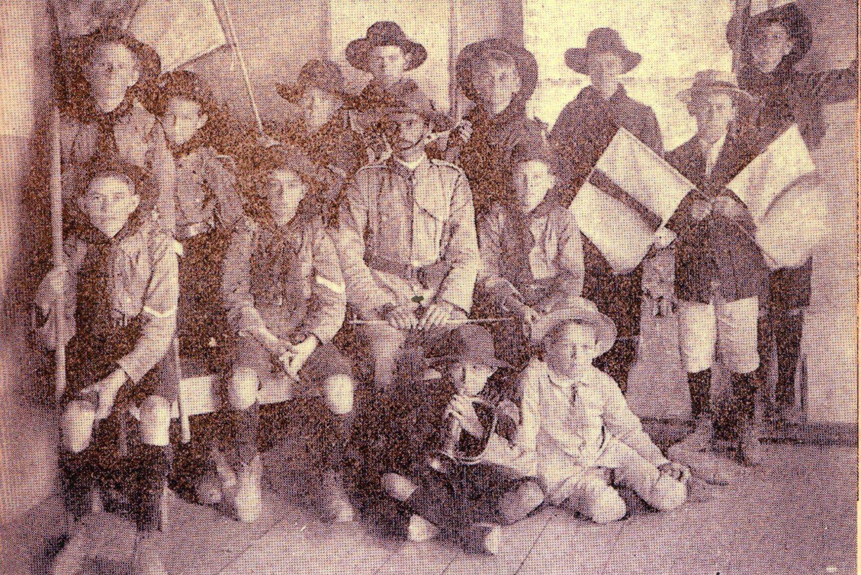 Newspaper clipping photo of first Ashgrove Scout group, 1909.