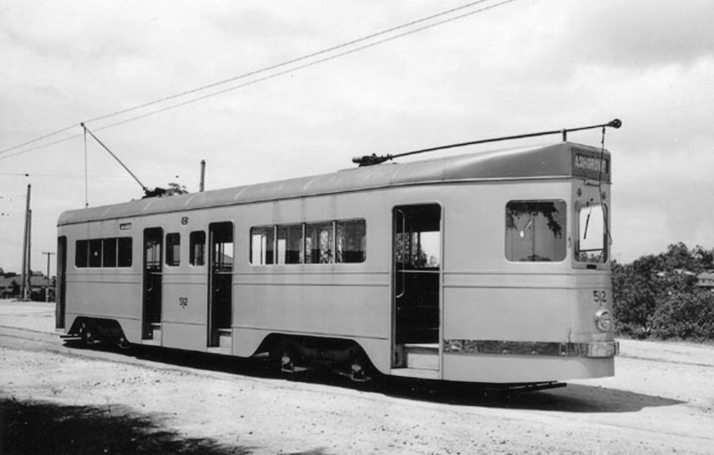 ArtS7 Tram at Ashgrove West terminus, 1951