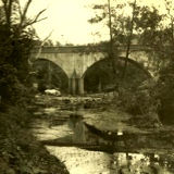 Walton Bridge over Enoggera Creek with two horses